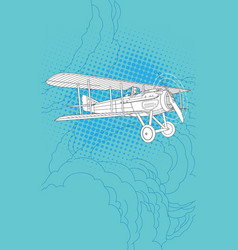 Retro pilot and plane vector