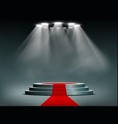 round podium illuminated searchlights vector image