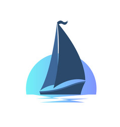 sailing boat on the waves at sunset vector image