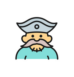 Sailor pirate robber flat color line icon vector
