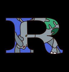 Serif alphabet letter r with doodle alligator vector