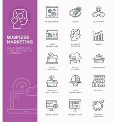 set modern line icon design concept business vector image