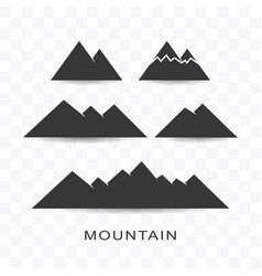 set mountain icon simple flat style vector image