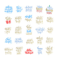 Set of 25 merry christmas and happy new year hand vector