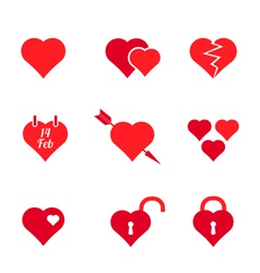 set of red heart icons vector image