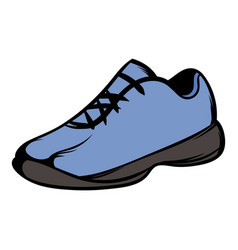 Single blue running shoes icon cartoon vector