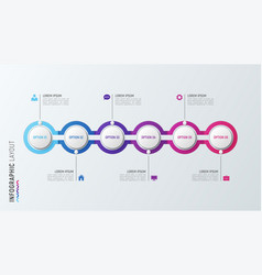 six steps infographic process chart 6 options vector image