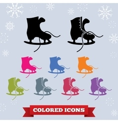 Skate with laces icon set Sport winter holiday vector image
