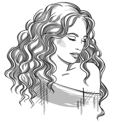 Sketch a beautiful girl with curly hair vector