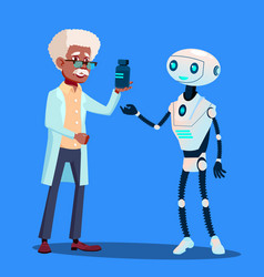 smart robot visiting doctor isolated vector image