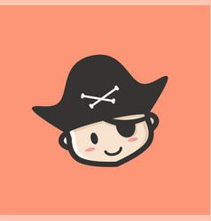 smiling baby pirates head logo icon vector image