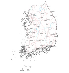 South Korea Black White Map vector image