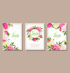 spring collection backgrounds with peones vector image