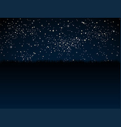 Starry sky stars dark sky steppe prairie grass vector