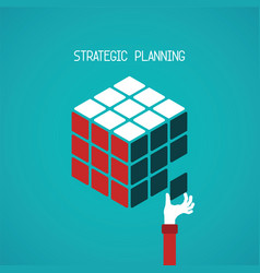 Strategic planning cube concept in flat style vector