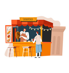 street food shawerma stall with seller and client vector image