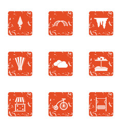 Surprise of the children icons set grunge style vector