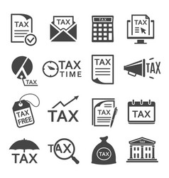 tax bills paying glyph icons set vector image