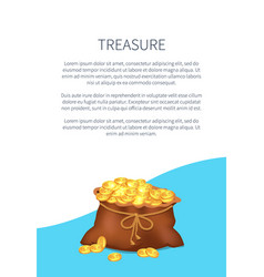 treasure poster with old sack full of golden coins vector image