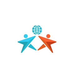 Two man logo globe hands up together people vector