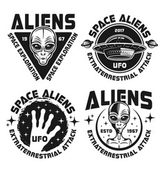Ufo and aliens emblems labels badges vector