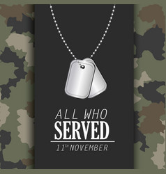 Veterans day celebration and memoral necklace vector