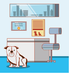 Veterinary office with animal vector