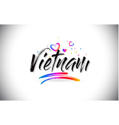 Vietnam welcome to word text with love hearts and vector