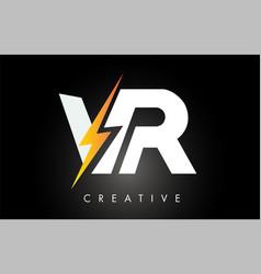 Vr letter logo design with lighting thunder bolt vector