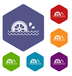 Waterwheel icons set hexagon vector
