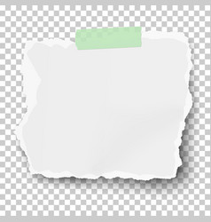 White square ragged paper scrap with soft shadow vector