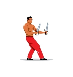 Wing Chun kung fu Man with two swords vector