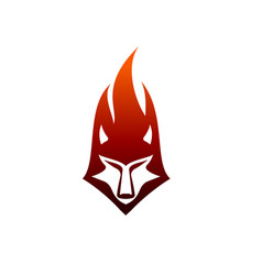 Wolf flame logo design concept template vector