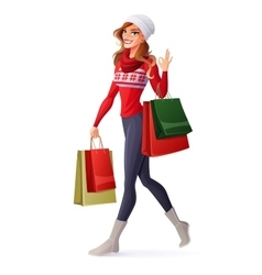 woman in Christmas outfit with shopping vector image