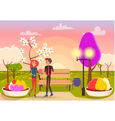 young boy gives bouquet of flowers to cute girl vector image
