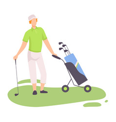 young man with wheeled sports bag with golf clubs vector image