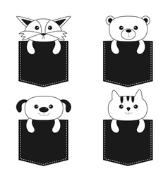 Animals in the pocket Cute cartoon dog bear fox vector image vector image