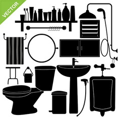 Bathroom silhouette vector image vector image