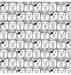 hand drawn bear pattern vector image