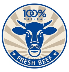 Label with the head of a bull vector image vector image