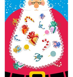 Santa Claus with big white beard Gifts and toys vector image