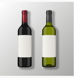 two realistic wine bottles in top view with vector image vector image