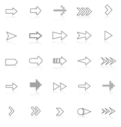 Arrow line icons with reflect on white vector image vector image