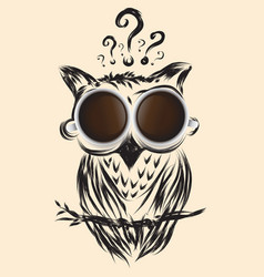 art coffee owl business question drawn icon vector image