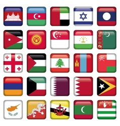 Asia Flags Square Buttons vector image