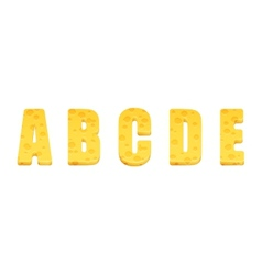 Cheese alphabet set Letters A-E vector image vector image