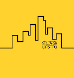 city contour on a yellow background design element vector image