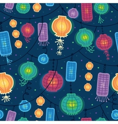 Glowing lanterns seamless pattern background vector image vector image