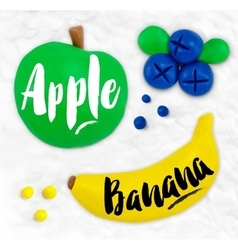 Plasticine fruits apple vector image vector image
