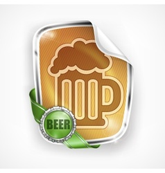 Stylized mug of beer on label vector image vector image